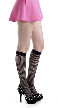 Vertical Hole Knee High Socks (Black) - Pamela Mann