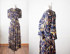 Vintage 90s Maxi Dress | Vintage Floral Print Dress Soft Grunge Oversized Dress Boho Chic 90s Dress Romantic Dress Maxi Skirt Navy Blue by BlueHorizonVintage on Etsy