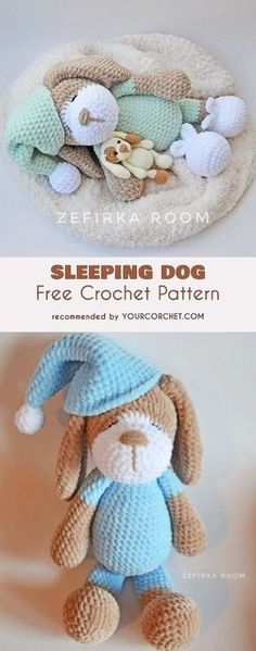 Crochet Sleeping Dog Sonia Amigurumi Free Pattern - Puppy Stuffed Toy Crochet Patterns DIY Crochet Amigurumi Puppy Dog Stuffed Toy Free Patterns: Crochet Dog-Themed Animal Toys for Dog Lovers Crochet Diy, Crochet Amigurumi Free Patterns, Crochet Animal Patterns, Crochet Animals, Crochet For Kids, Crochet Crafts, Crochet Projects, Dog Crochet, Knitting Patterns
