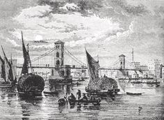 Hungerford Suspension Bridge 1845 Late Modern Period, Isambard Kingdom Brunel, Bridge Design, Suspension Bridge, London Bridge, River Thames, Free Vector Art, Feature Film, Photo Illustration