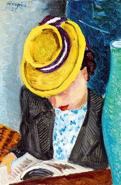The Art of Reading: De chapéu amarelo, 1939 Voros Geza (Hungria, 1897 – 1957) óleo sobre tela, 36 x 24 cm