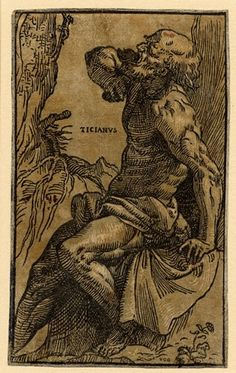 Ugo da Carpi after Titian - St. Jerome in the Desert - Chiaroscuro woodcut with two blocks in green, c.1516