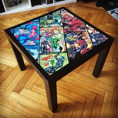 Hottest Free of Charge Custom DC Universe IKEA LACK Table by ZlaKalamarnica on DeviantArt Thoughts On among my very frequent visits to IKEA I found cheaper lacking platforms that were the right colo Avengers Room, Marvel Room, Marvel Comics, Furniture Makeover, Diy Furniture, Lamp Makeover, Comic Book Crafts, Comic Book Rooms, Boy Room