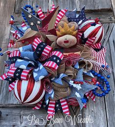 Patriotic Wreath, Reserved for Diana Fourth Of July Decor, 4th Of July Wreath, July 4th, Bead Crafts, Decor Crafts, Paper Crafts, Tulle Wreath, Floral Wreath, Ribbon Wreaths