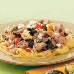 Greek Spaghetti Squash Recipe -Greek olives and feta cheese lend an ethnic flare to this colorful entree created by our Test Kitchen.