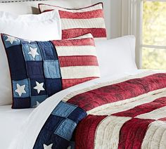 Red, white & blue bedding.  for mom's guest room