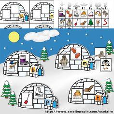 Fichiers PDF téléchargeables Versions en couleurs et en noir et blanc 3 pages par fichier Pour l'hiver, voici une activité sur les sons pour le préscolaire. Vous pouvez même vous amuser à faire une murale avec vos élèves en collant les igloos sur un gros carton bleu (vous pouvez utiliser des velcros ou des aimants pour les faire tenir). Vous pouvez leur faire bricoler des sapins, des maisons, des flocons de neige, etc. Cela fait une belle décoration à la fois! French Education, Kids Education, Winter Fun, Winter Theme, Winter Activities, Preschool Activities, Amelie Pepin, Literacy Games, Teacher Helper