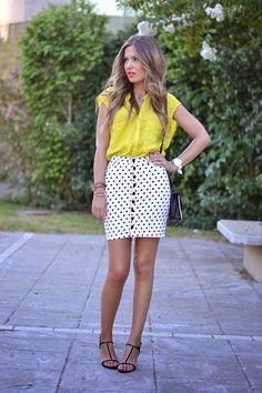 abaday Polka Dots Print High-waist Bodycon Skirt - Fashion Clothing, Latest Street Fashion At Abaday.com