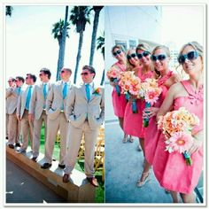 Different colors for the bridesmaids and groomsmen! Glad to see it can be done