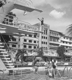 People enjoying the newly constructed Manila Hotel. Location: Manila, Philippines Date taken: May 1948 Photographer: Jack Birns Philippines People, Philippines Cities, Visit Philippines, Philippines Culture, Manila Philippines, Backpacking Ireland, Philippine Holidays, Leyte, Philippines