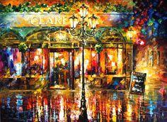 "MISTY CAFE — PALETTE KNIFE Oil Painting On Canvas By Leonid Afremov - Size 30""x40"""