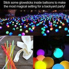 Put glowsticks inside balloons for beautiful backyard parties