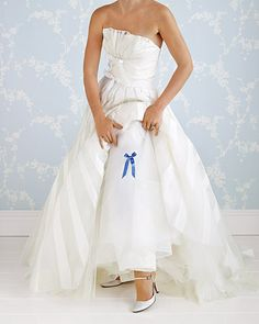 A dainty azure bow pinned discreetly to the underskirt of your wedding dress is a charming way to honor an age-old tradition. Choose any pretty blue ribbon you like and fasten it to the inner layers of your gown or undergarments with a tiny safety pin. Wedding Themes, Wedding Colors, Wedding Styles, Wedding Gowns, Wedding Garters, Bridal Gowns, Perfect Wedding, Dream Wedding, Wedding Day