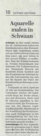 Start in die Plein Air Saison | Aquarelle malen in Schwaan – Ostsee Zeitung 2017 02 23