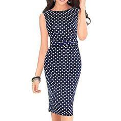 Women's Sleeveless Polka Dots Bodycon Slim Dresses