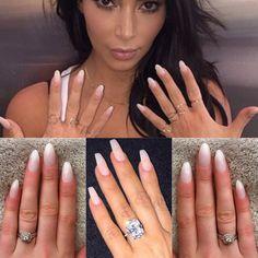 Natural nails kim kardashian press on nails false nails by CrystalNailBoutique Coffin Nails Glitter, Coffin Shape Nails, Coffin Nails Long, Stiletto Nails, Long Nails, Acrylic Nails, Nails Shape, Pink Coffin, Short Nails