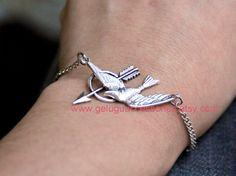 The Hunger Games Inspired Silver Mockingjay & Arrow Bracelet