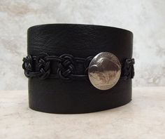 Handmade Extra Wide Black Leather Buffalo Nickel Cuff - Made to Order  SherryKayDesigns Enter shop here: