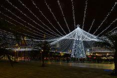 Bogotá Colombia - Christmas lights at Centro Comercial Gran Estación stock photo