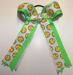 Softball Neon Green Silver Ponytail Holder Bow Baptism Headband, Newborn Headbands, Softball Hair Bows, 1st Birthday Hats, Cheap Bows, Softball Hairstyles, Sport Hair, Baby Bracelet, Bow Accessories