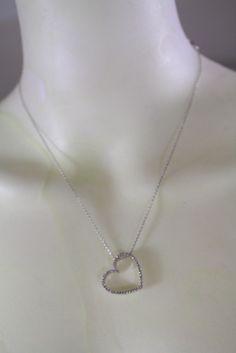 "18K WHITE GOLD / DIAMOND SET LARGE ""HEART PENDANT"" CHAIN NECKLACE #Unbranded #Pendant"