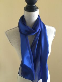 Vintage Silky Polyester Striped Royal Blue Long 13 x 62 Scarf  #Unbranded #Scarf