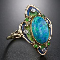 Art Nouveau Black Opal, Enamel And Diamond Ring