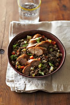 Chicken Sausage over Lentils from familycircle.com  #myplate #protein
