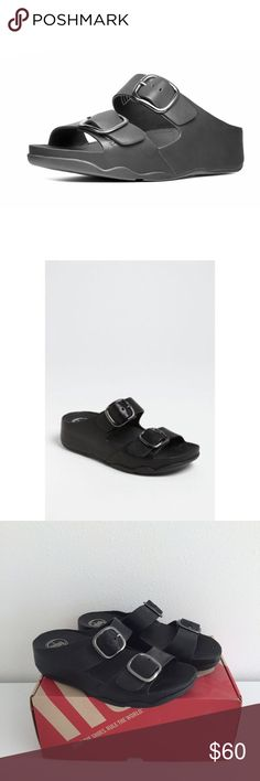 """Fit Flop Summa black sandals Fit Flop """"Summa"""" slide sandals in black. FitFlop footwear is built with patent-pending, biomechanically engineered Microwobbleboard™ midsoles. They offer excellent shock absorption and instant relief from underfoot pressure. 1 3/4"""" heel; 1"""" platform. Adjustable straps with buckle closures. Leather upper and lining/synthetic sole. Worn once. Fit Flop Shoes Sandals"""