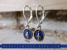 Miraculous Medal Earrings Catholic Jewelry Royal by MyDailyGrace, $8.50