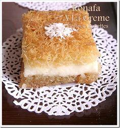 Gateau arabic - konafa - Bonoise revenue art of kitchen of Sihem cakes Algerians Algerian cuisine biscuits ramadan Egyptian Desserts, Egyptian Food, Egyptian Recipes, Arabic Sweets, Arabic Food, Recipes Appetizers And Snacks, Dessert Recipes, Kunafa Recipe, Ramadan Desserts