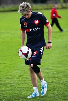 Niall Football. I have had an operation on the same knee that Niall has a bandage on !