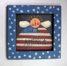 Folk Art American Raggedy Angel Patriotic by barbsheartstrokes,