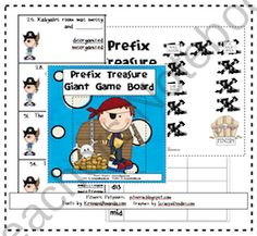 Prefix Treasure - Class-sized Game Board product from Pitners-Potpourri on TeachersNotebook.com Word Study, Word Work, Prefixes And Suffixes, Giant Games, Teacher Notebook, Helping Children, Potpourri, Language Arts, Kids Learning