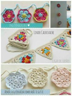 Crochet Home, Love Crochet, Crochet Gifts, Crochet Motif, Beautiful Crochet, Knit Crochet, Crochet Bunting, Crochet Garland, Crochet Decoration
