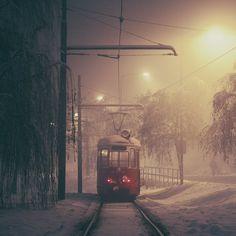 Sarajevo: The Lonely Tram. by inbrainstorm.deviantart.com on @DeviantArt