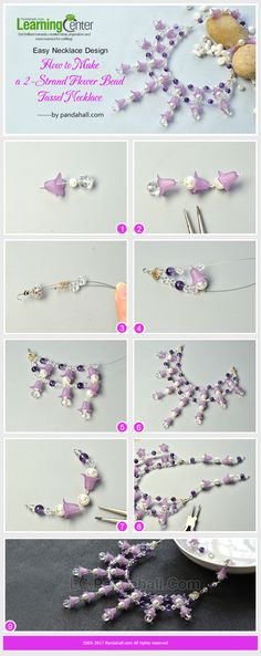 Easy Necklace Design – How to Make a 2-Strand Flower Bead Tassel Necklace