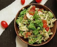 chicken veggie salad with avocado herb dressing