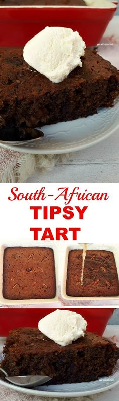 Rich, sweet and sticky delicious Tipsy Tart a.a Cape Brandy Tart ! Desserts For A Crowd, Best Dessert Recipes, Easy Desserts, Sweet Recipes, Delicious Desserts, Yummy Food, Tart Recipes, Delicious Dishes, Burger Recipes