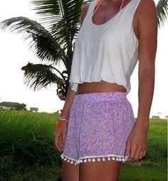 Super Cute NEW High Quality 2016 Ladies Floral Print Elastic Waist Pom Pom Trim Accent Beach Shorts S-XL 5 Colors