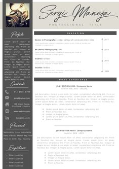 Creative professional Resume + Cover letter Template Editable for MS Word - Curriculum Vitae - English CV with Fonts included - Resume Cover Letter Template, Cv Template, Letter Templates, Resume Templates, Professional Resume, Good Mood, Lorem Ipsum, Knowledge, Lettering