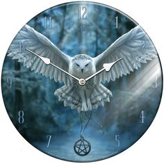 Anne Stokes Awaken Your Magic Glass Clock Featuring a Stunning Owl in Flight dangling a pentagram. Anne Stokes, Cool Clocks, Cool Stuff, Random Stuff, Awakening, Owl, Magic, Glass, Cool Watches