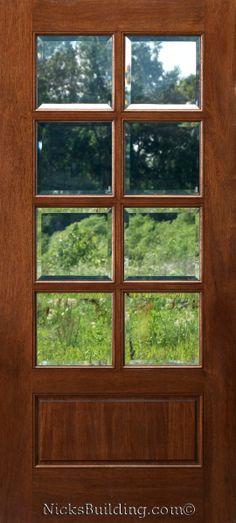8 lite wood door  bought at www.nicksbuilding.com  #frenchinteriordoors #exteriordoorswithglass #wooddoors Exterior Doors With Glass, Wood Exterior Door, Glass Front Door, Big Windows, House Windows, Entry Foyer, Entry Doors, Spanish Bungalow, Door Picture