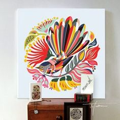 """*LARGE* CANVAS ART """"Colourful Fantail"""" by Tofutree for sale on Trade Me, New Zealand's auction and classifieds website Large Canvas Art, Canvas Frame, Large Wall Decals, Maori Designs, Nz Art, Maori Art, Kiwiana, Textiles, Bird Tree"""