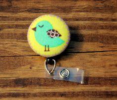 Blue Bird Badge, Bird Badge, Animal Badge, Retractable Badge,Swivel Clip,RN Badge, CnA Badge, Coach Badge, Teacher Badge, Fabric Badge by TheNerdyFatCat on Etsy