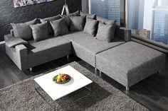 Design Ecksofa mit Hocker LOFT Strukturstoff anthrazit Federkern Sofa beidseitig aufbaubar
