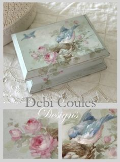 Vintage Bluebird and Roses Box Design Packet Mailed by Debi Coules - Debi Coules Romantic Art Napkin Decoupage, Decoupage Box, Decoupage Vintage, Shabby Chic Crafts, Shabby Chic Decor, Shabby Chic Furniture, Vintage Furniture, Modern Furniture, Romantic Shabby Chic