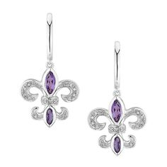 Amazon.com: Amethyst and Diamond Fleur-de-lis Earrings: Dangle Earrings: Jewelry  .Price: $125.00 Sale: $115.00  .These sterling silver Fleur-de-lis earrings each feature 2 marquise shaped genuine amethyst and 13 round accent diamonds. Earrings are 33mm long. Diamonds are 0.07ctw, I or better in color and I3 or better in clarity.