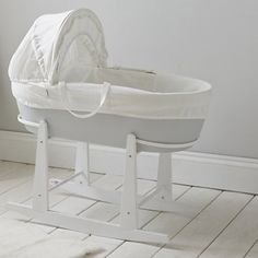White Selected Material Bassinets & Cradles Straightforward Shnuggle Dreami Moses Basket And Curve Rocking Stand
