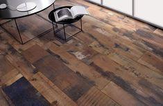 carrelage-imitation-parquet-bois-foncé-Fioranese-tables-métalliques-modernes